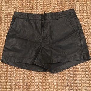 F21 Essentials Black Faux Leather Shorts